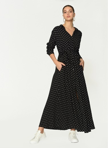 Loves You Puantiyeli Viskon Gömlek Elbise Siyah